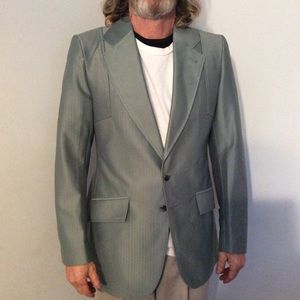 Vintage Shiny Green Polyester Leisure Jacket 40